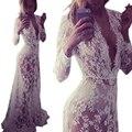 Vestidos de verão mulheres do assoalho-comprimento black white lace dress dr5046 ajustar cintura sexy ver através de vestido floral