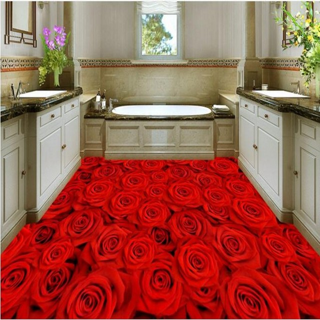 Beibehang Custom Flooring Red Rose Floor Decorative Painting Waterproof Anti Skid Thickening Bathroom