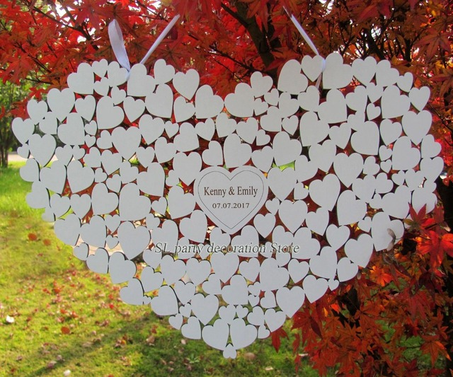 Customs Personalised Heart Shaped Wedding Guestbook Alternative Hanging Guest Book Hearts In 0 4 Inch
