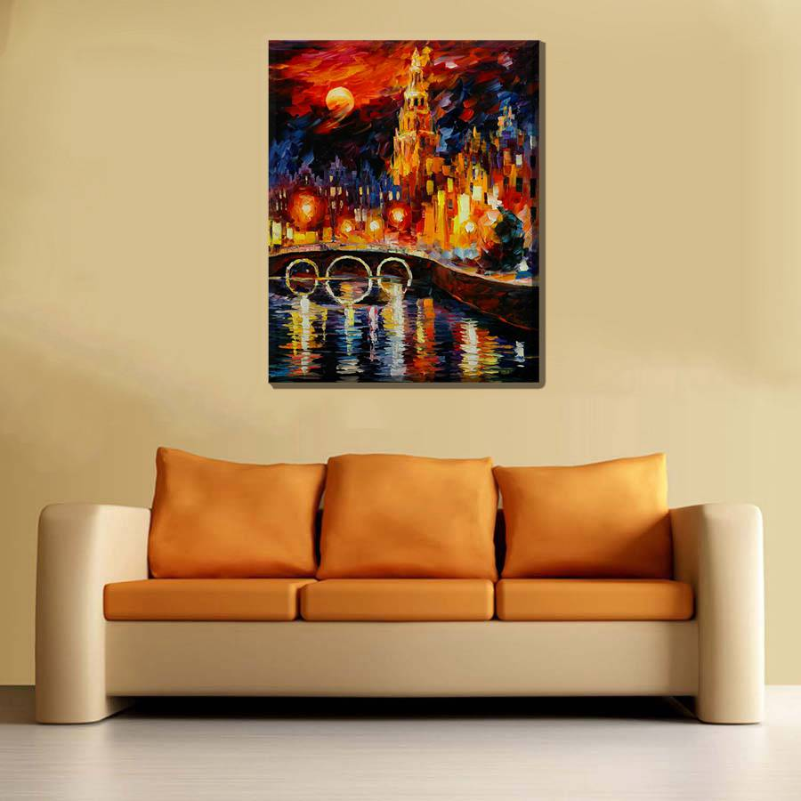 The City Urban Night View of the Bridge Knife Oil Painting Print ...