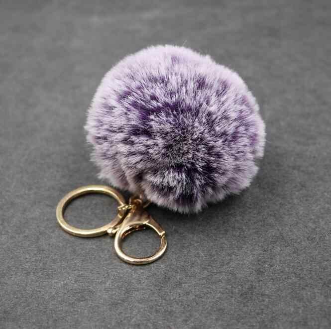 Alta Qualidade 8 cm ponta Branca pom pom pele chaveiro bola 1 bola 6 cores mulheres saco de chaveiro pompom pompom clef porte de fourrure