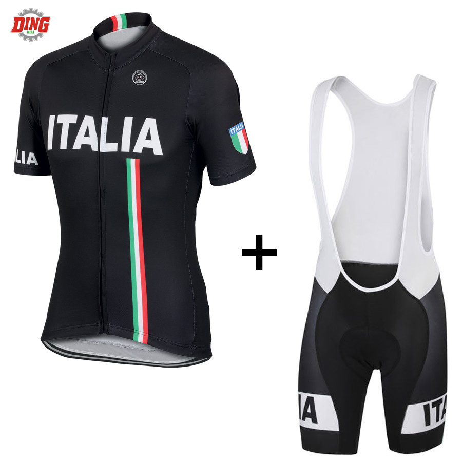 US $14 62 30% OFF|Italy brand team ITALIA NEW black cycling jersey set ropa  Ciclismo men short sleeve bike wear jersey set bib shorts Gel Pad MTB -in