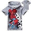2017 лето человек-паук мальчиков, одежда набор детей с коротким рукавом топы тис майка