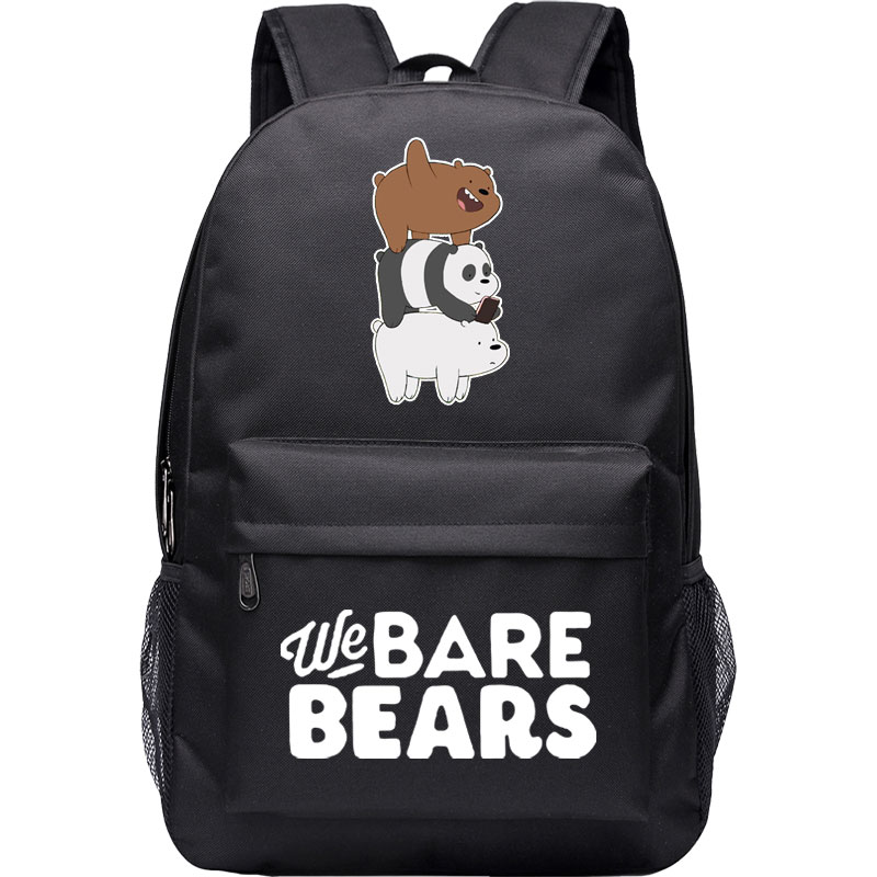 WE BARE BEARS canvas backpack adorable bear school laptop rucksack grizz ice bear panpan books satchel girls boys student цена и фото
