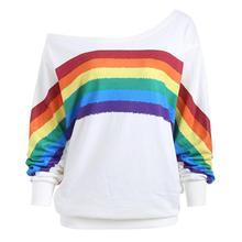 Casual Loose Long Sleeve Rainbow Print Pullover Shirts Sweatshirt Women's Fashion Sweatshirt Women loose fit random lip print pullover sweatshirt for fall