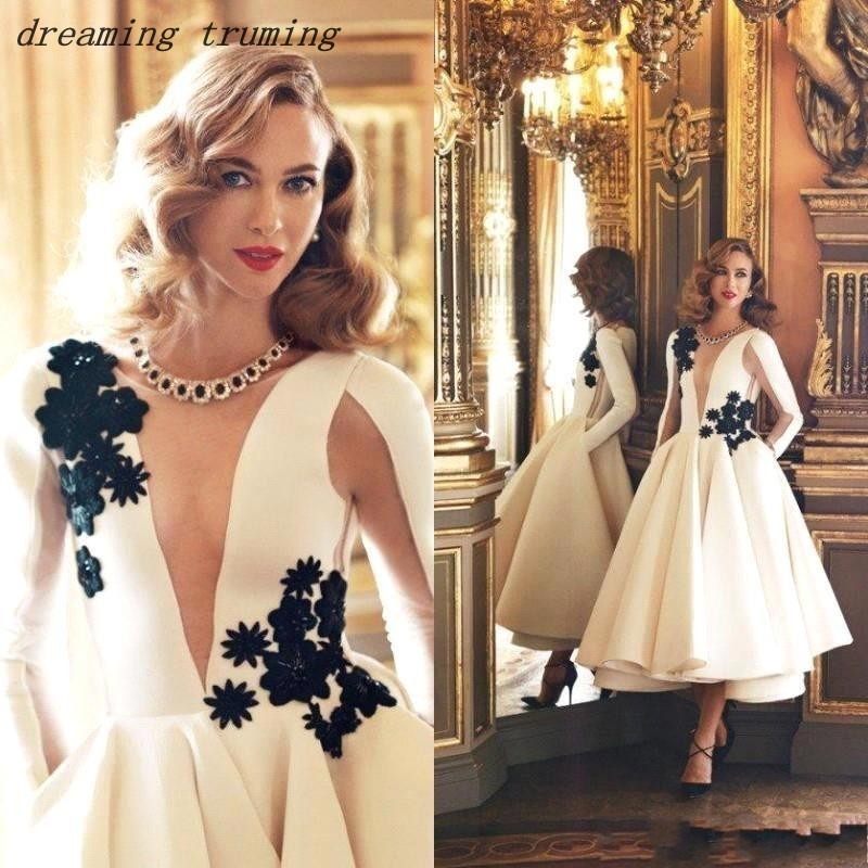 White Tea Length   Cocktail     Dresses   Ball Gowns Appliques Stain Sexy Neckline Long Sleeve Party Prom Gowns