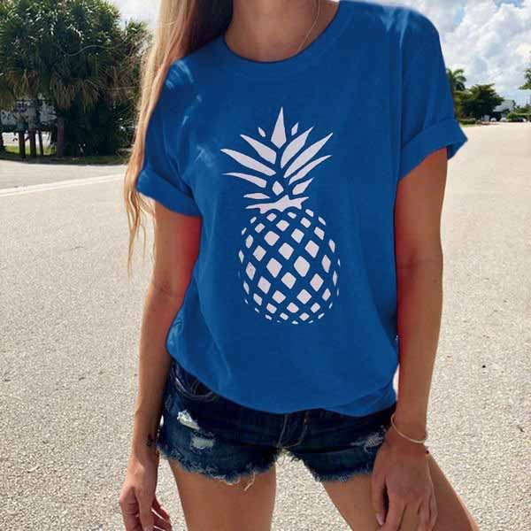 2019 7 Colors Loose Women O Neck Casual Short Sleeve Tee 2019 Summer Pineapple Print T Shirt Vestidos in T Shirts from Women 39 s Clothing