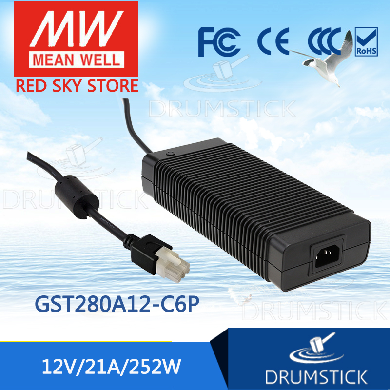 Selling Hot MEAN WELL GST280A12-C6P 12V 21A meanwell GST280A 12V 252W AC-DC High Reliability Industrial Adaptor hot mean well gsm60a12 p1j 12v 5a meanwell gsm60a 12v 60w ac dc high reliability medical adaptor