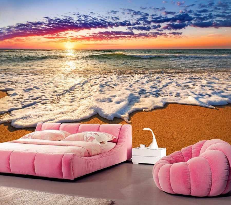 Personalizzato murales, Albe e tramonti Coast Sea Foam Natura sfondi, soggiorno TV sfondo divano parete camera da letto 3d carta da parati