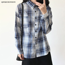 Preppy Style Women Plaid Shirt Long Sleeve 2019 Spring Autumn New Boyfriend Breast Pocket Shirts Casual Plus Size Tops