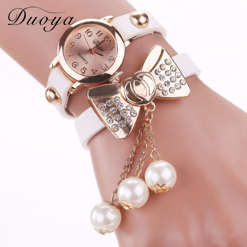 Duoya New Brand Eye Gemstone Luxury Watches Women Gold Bracelet Watch Dress Female PU Leather Electronic Quartz Wristwatches 09