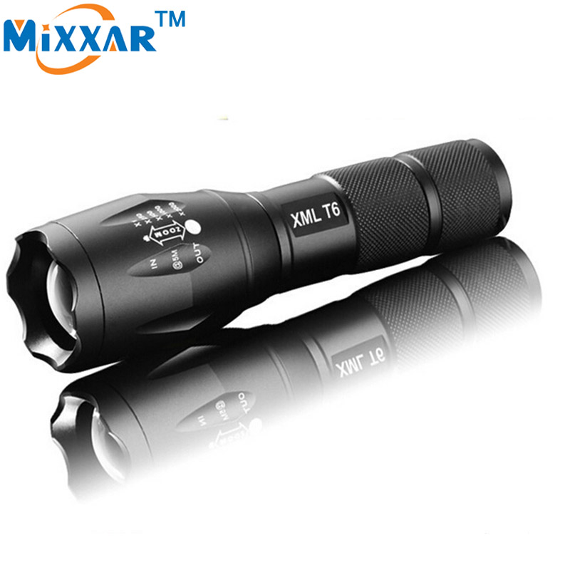 LED Torch Zoomable Portable LED Flashlight E17  CREE XM-L T6 LED 4000Lumens Torch light for 1x18650 3xAAA rechargeable
