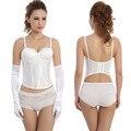 Negócio Super vestido de casamento Das Mulheres parte superior Do Espartilho Sexy corselet overbust Espartilhos E Corpetes Plus Size 2016 Moda Nupcial do Espartilho branco