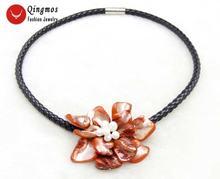 Qingmos Трендовое ожерелье с цветочным узором для женщин красным