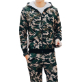 Winter Mens Sweat Suits Brand Mens Tracksuit Sets Fleece Zipper Hooded Jacket + Pants Sporting Suit Camouflage Sleeve Hoody