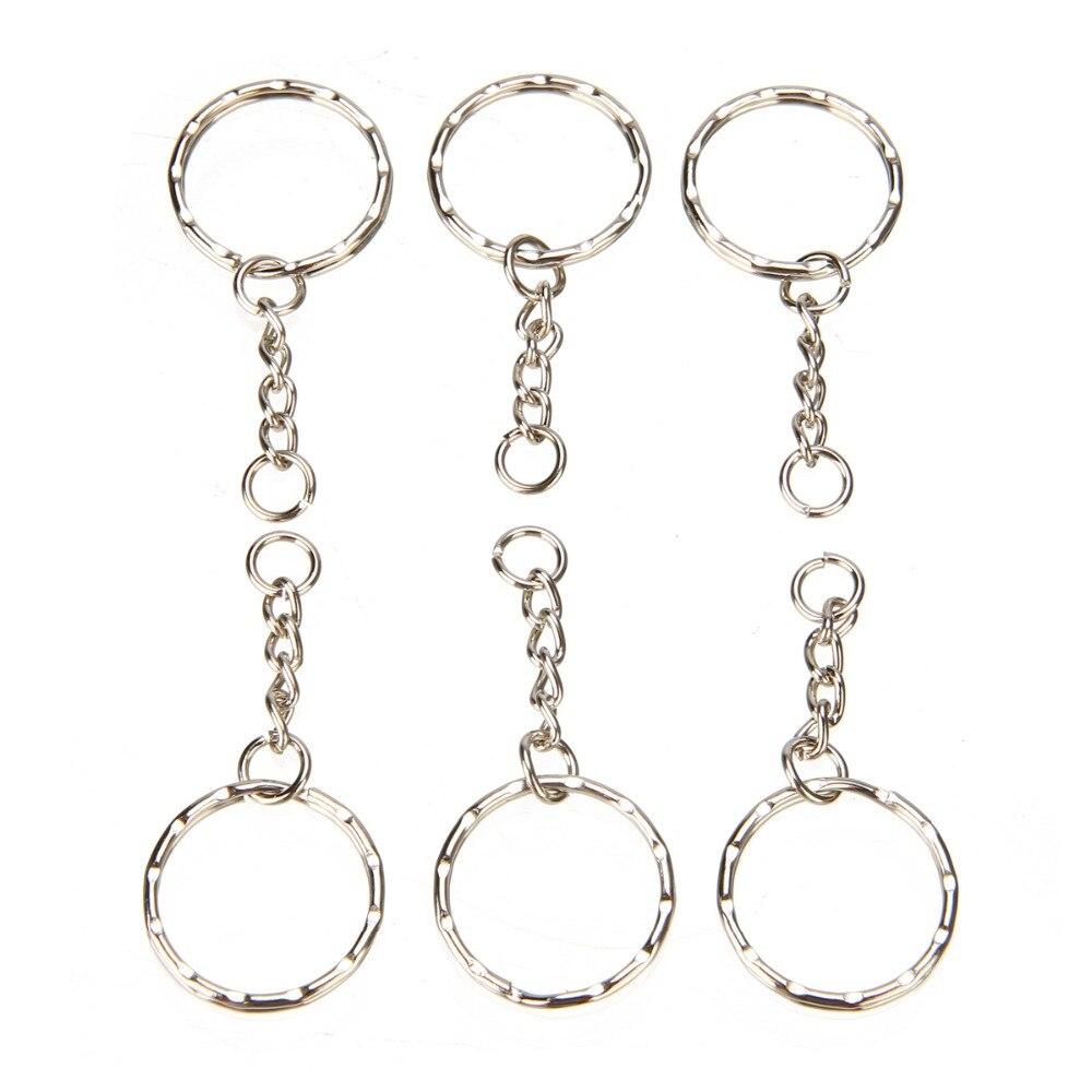 50Pcs Split Ring Sleutelhanger Sleutelhanger Connector 4 Link Chain Key-Ring 55 Lange Voor Sleutel Accessoires