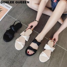 DONLEE QUEEN 2019 Summer Sandals Ankle Strap Sandal Women Flat Causal Shoes Fashion Open Toe Flip Flops zapatos de mujer Sandals