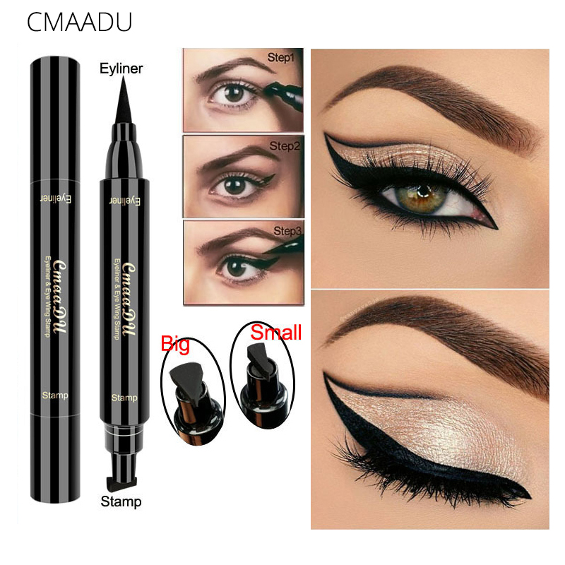 Eyeliner Objective New Sexy Waterproof Double Head Black Wing Shape Eyeliner Stamp Seal Eyeliner Pencil Cat Eye Cosmetic Makeup Tool Wing Style Beauty Essentials