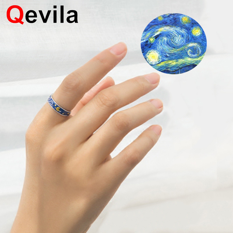 Qevila Hot Fashion Jewelry Rings Plated S925 Silver Van Gogh Starry Sky Open Lover Ring For Women Men Romantic Gift Wedding Boho