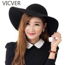 Autumn Winter Hats For Women Waves Wide Brim Fedora Hat Ladies Floppy Bowknot Wool Felt Cap Elegant Vintage Solid Female Caps