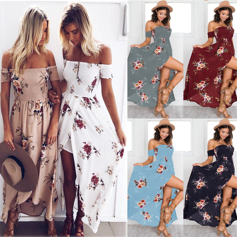 Lossky 2018 Жаңа Әйелдер Sexy Side Split Жазғы Dress Off Shoulder Vintage Басып шығару Maxi Dress Әйелдер Beach Dress Vestidos