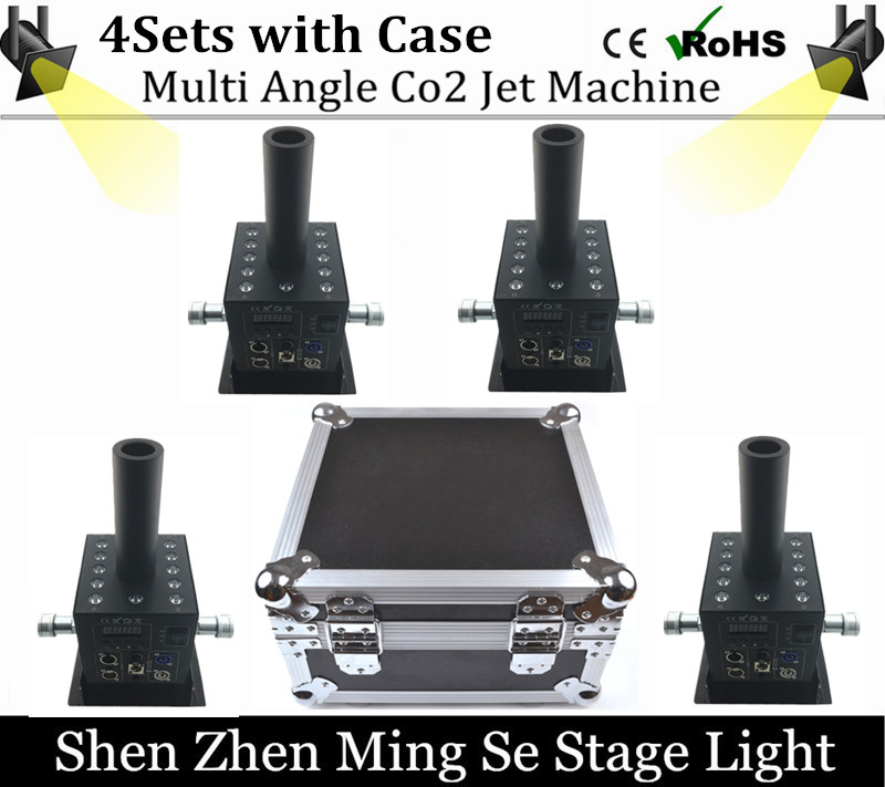4pcs 12x3w Led Multi Angle CO2 Jet DMX Adjustable Powercon Stage CO2 Device High Pressure Hose  DJ CO2 Cannon with flight case