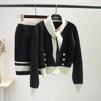 18 autumn and winter small fragrant wind bow tie sweater knitted shirt pullover + buttock half skirt sweet port flavor clothes s