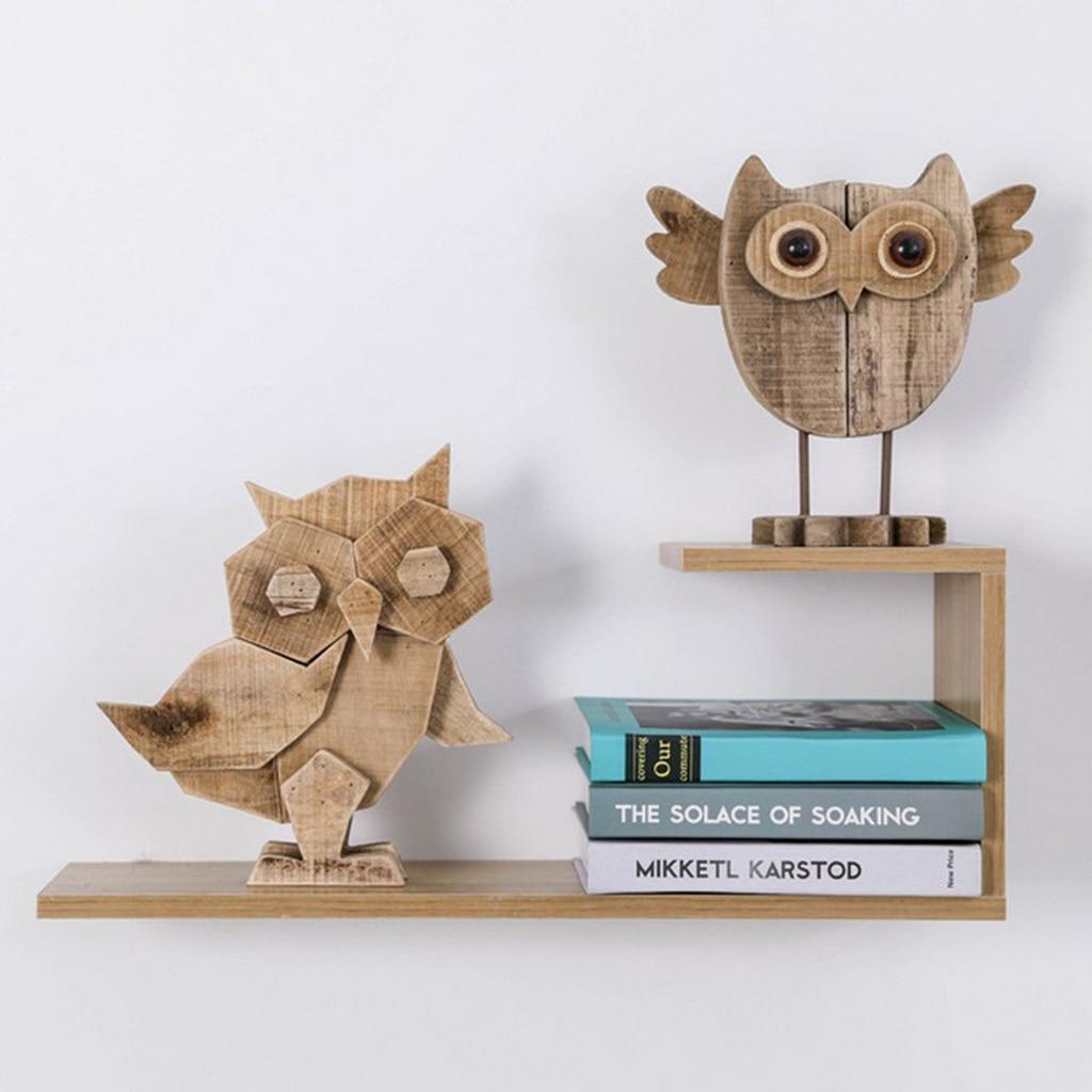 1 PC Driftwood Owl Bird Figurine Ornament Animal Statues, Handmade Wooden Carved Owl Showpiece Art Home Decor/Christmas Arts