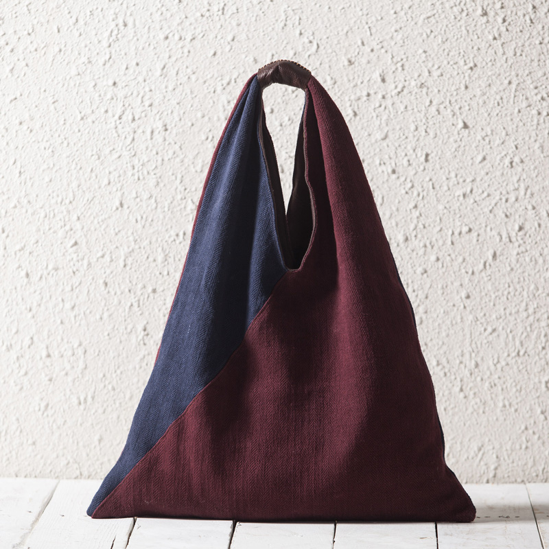 Artistic Design Contrast Color 2-Tone Large Canvas Hobo Shoulder Handbag Bag WB488