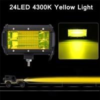 Car Sytling 5 Inch 72W Work Light Bar 12V 6000K 4300K White Yellow Fog Light Day