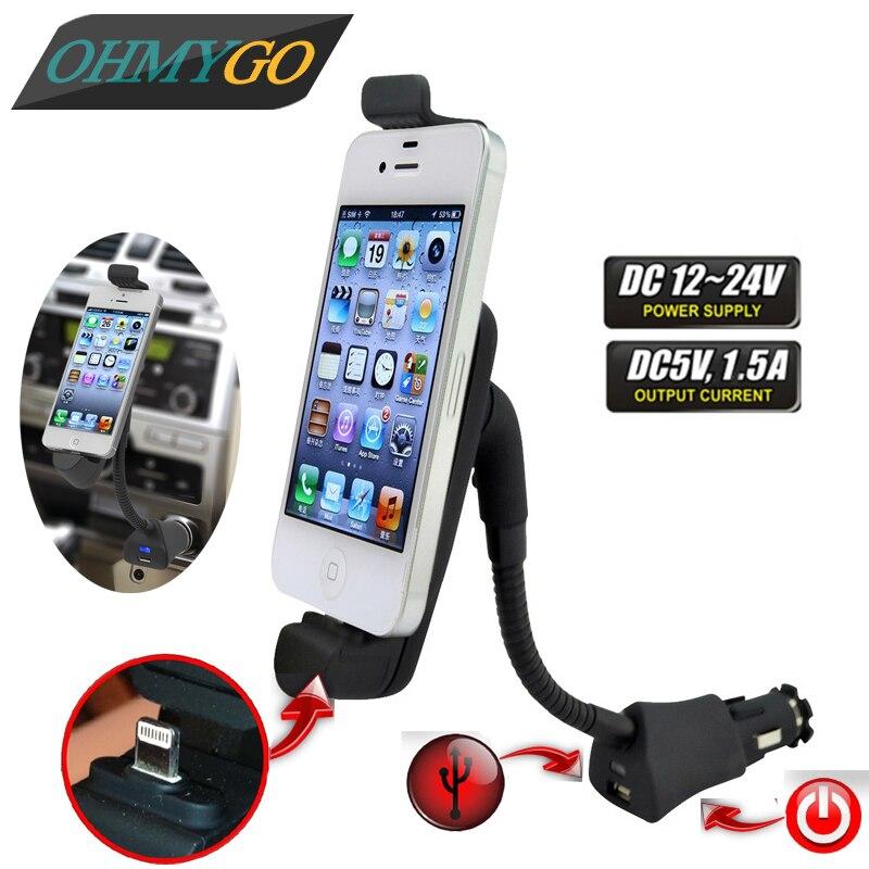 imágenes para OHMYGO Pphone Holder Mount Soporte Cargador USB de Coche para El Iphone de Apple 7 6 6 S 6 más 5 180 Grados de Rotación Titular de Cargador de Coche soporte