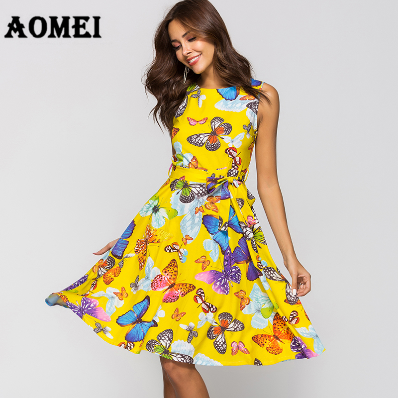 Women's Clothing 2019 Retro Floral Short Sleeve Women Dress Hepburn Lace Up Elegant Swing Dress Vintage Female Elegant Beach Party Dresses Catalogues Will Be Sent Upon Request