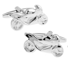 Free Shipping Motorcycle Cufflinks Wholesale&retail Novelty Silver Motor Bike Design Quality Brass Material Best Gift For Men