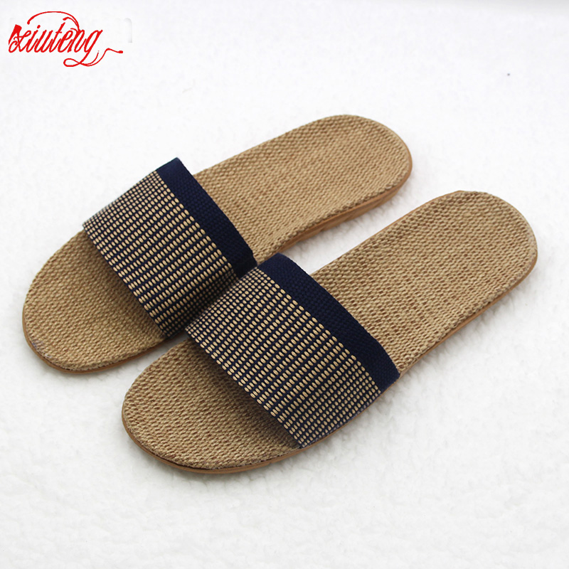 2017 High Quality The New Summer Home Slippers Indoor Shoes Flax Slippers Non-Slip Candy Colors men Soft Botton Slippers 2017 new home slippers spring summer indoor shoes refreshing linen flax flats home slippers