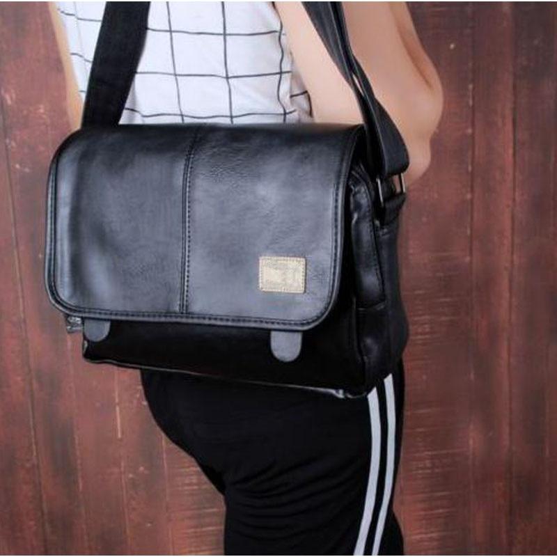 Men s Famous Brand Leather Shoulder Bag Vintage Messenger Sling Crossbody  Bags Student Fashion Designer Storage Handbag ddc7dd9598