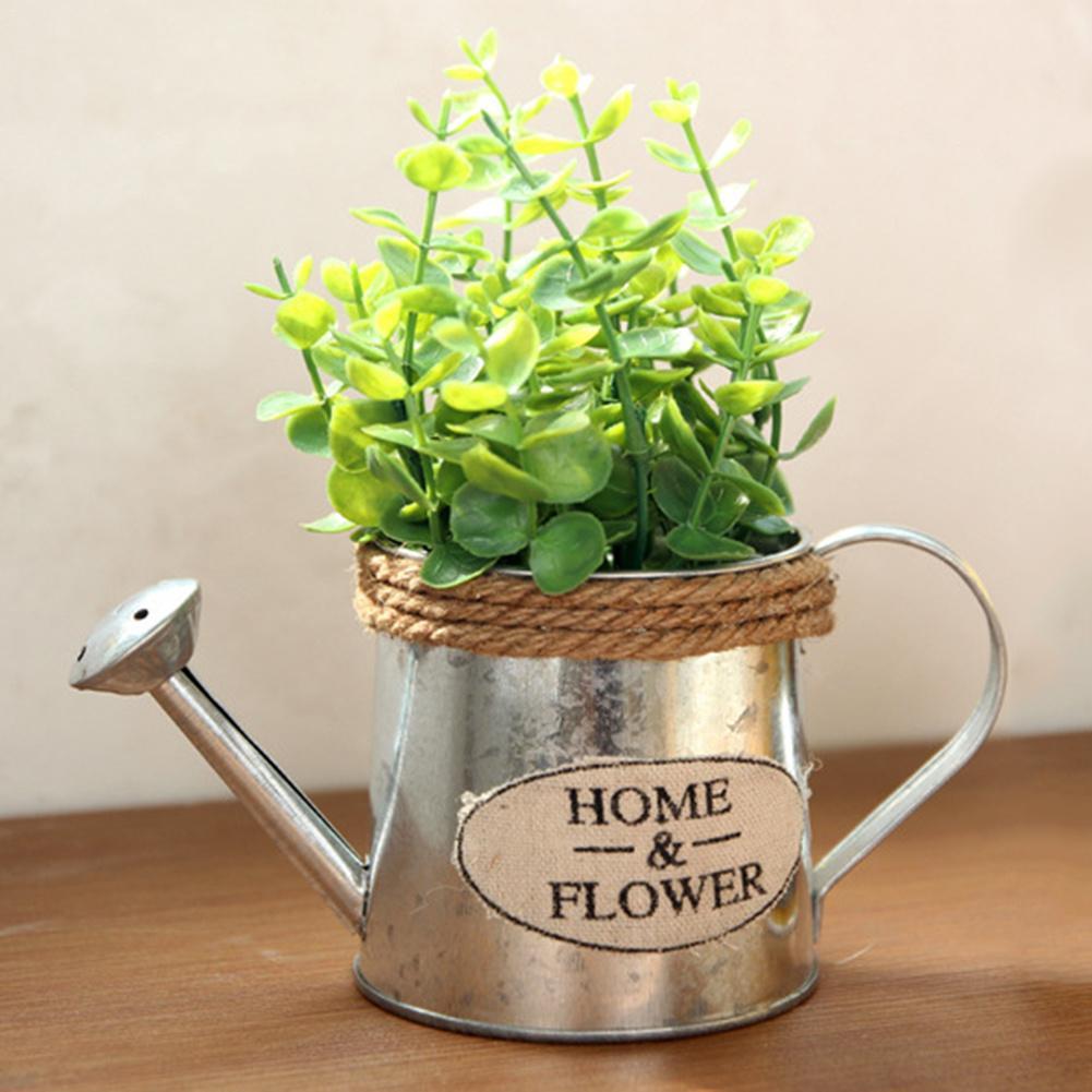 Decoration Petit Pot De Fleur 2 pcs rétro fer pot de fleur seau avec poignée pots de