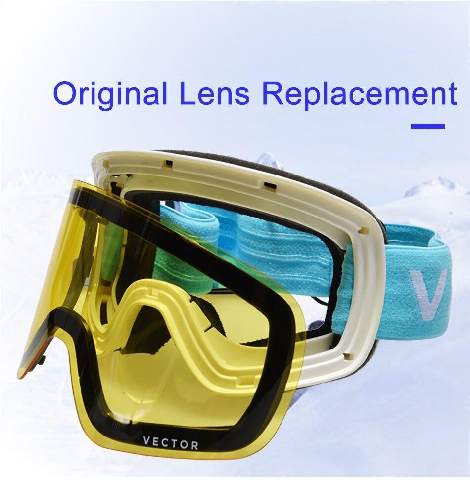 VECTOR marque lunettes de Ski Double lentille UV400 Anti-buée femmes hommes Snowboard Ski lunettes neige lunettes avec lentille supplémentaire - 4
