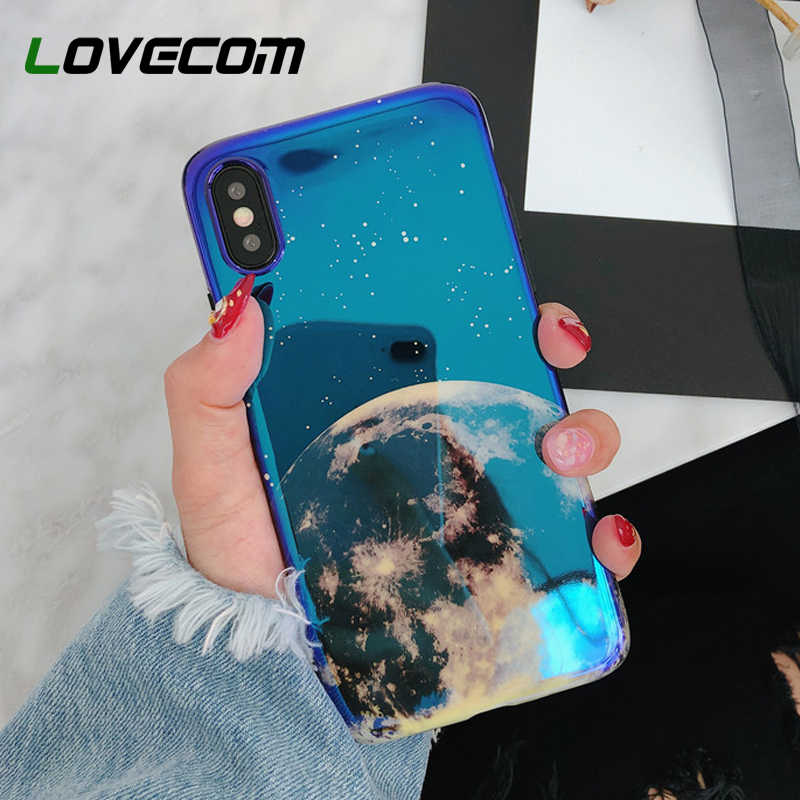 LOVECOM Luxe Blue-Ray Maan Paar Telefoon Case Voor iPhone XR XS Max 6 6s 7 8 Plus X Full Body Beschermende Soft Cover Conque