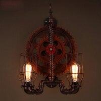 Лофт Стиль Настенный светильник творческий Механические Настенный светильник деревянный Шестерни Винтаж настенные бра бар коридор промыш