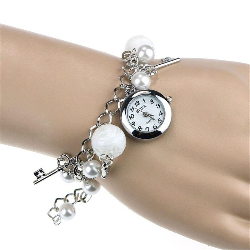 Vintage Vogue Rhinestone Pearl Heart Bracelet Watches Women Quartz Watch Fashion Ladies Elegant Montre Femme Reloj Hot Kol Saati