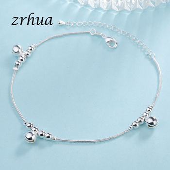 ZRHUA Vintage Fashion 925 Silver Anklets For Women Bohemian Summer Beach Evil Eye Chain Bracelet Foot Jewelry Wholesale Gifts 2