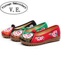Vintage Embroidery Women Flat Shoes Flower Flax Cotton Rubber Breathable Woven Casual Canvas Linen Single Ballet Flats
