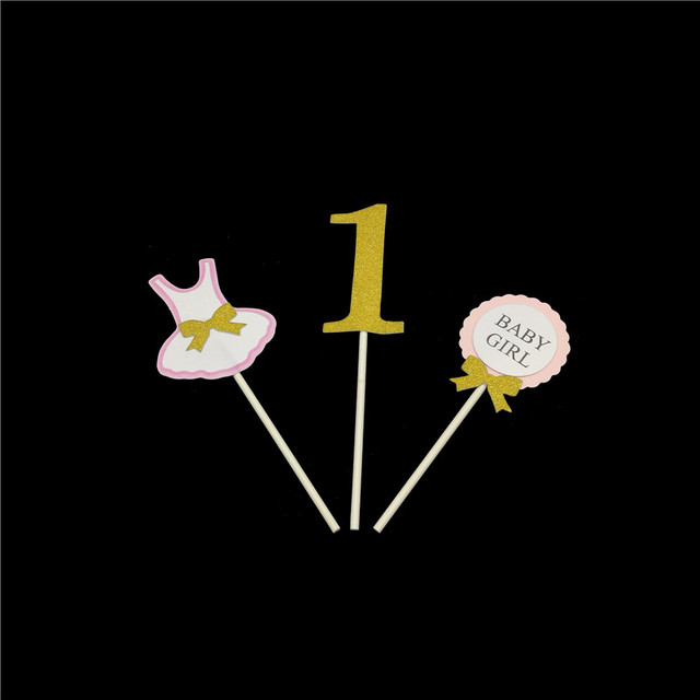 d2b2728590 Chicinlife 3Pcs 1St First Happy Birthday Onesie Cake Cupcake Toppers Baby  Boy Girl Party baby