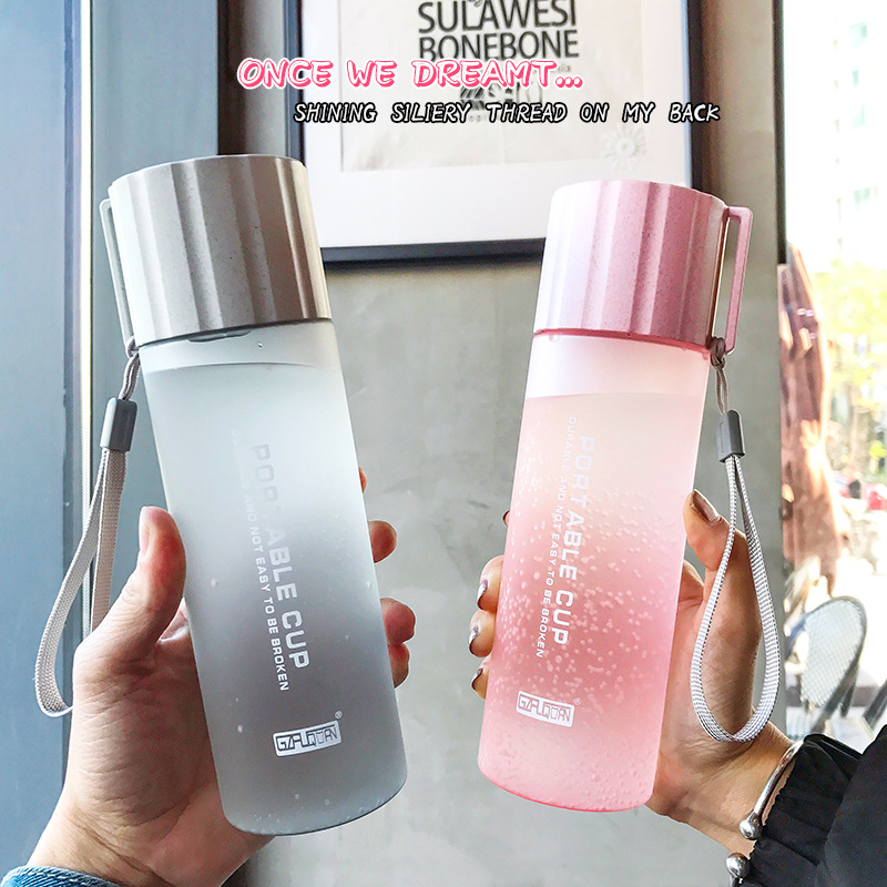 550ml Simple Sports Water Bottle Cover With Leakproof Frosted Glass Student couple portable water bottle Outdoor tourism