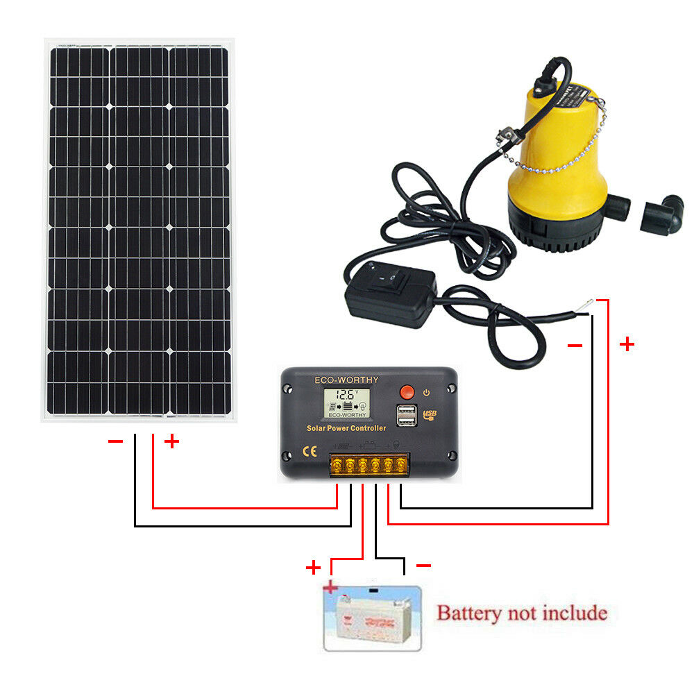 100W Solar Panel &12V Solar Submersible Clear Water Pump + 20A Charge Controller100W Solar Panel &12V Solar Submersible Clear Water Pump + 20A Charge Controller