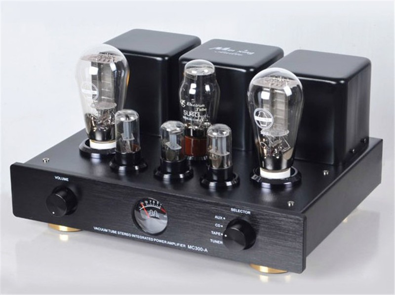 MEIXING NEW MC300-A Vacuum Tube integrated Amplifier Full music 300B*2 single-ended Class A power Amplifier 8W*2 110V/220V tube amplifier hifi shuguang kt100 2 x 15w dual mono block integrated single ended russian 6h1 preamp usa 6ak5 driving amplifier