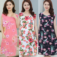 Hot Sale Plus Size Sleep Lounge Women Sleepwear Cotton Nightgowns Sexy Indoor Clothing Home Dress Floral Nightdress
