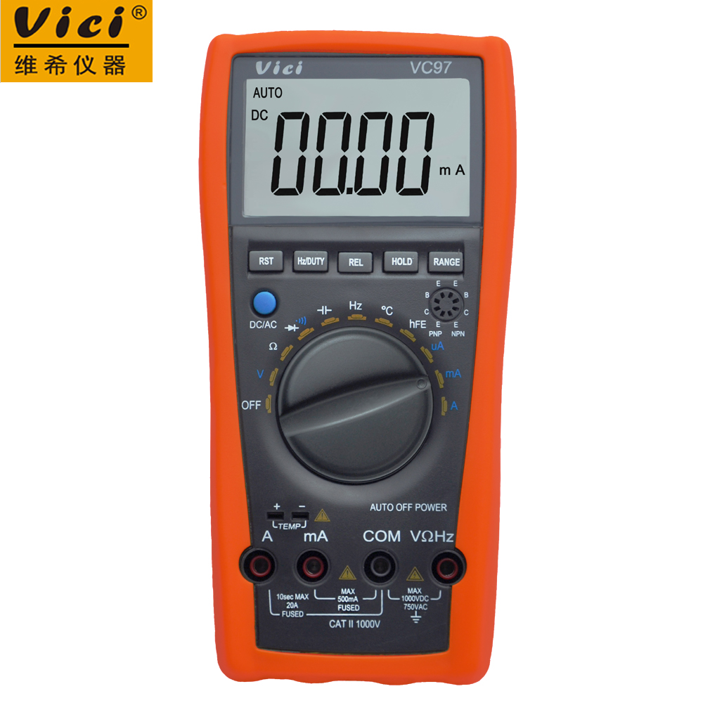 VICI VC97 3 3/4 digital multimeter voltmeter ammeter AC DC voltage current Resistance Capacitance frequency Tester with bag
