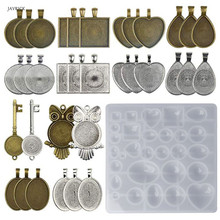 35 Pcs/set Pendant Metal Alloy Tray Silicone Mold Set DIY Handmade Jewelry Bottom Molds Necklace Bracelet Key Ring Accessories