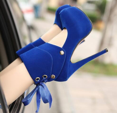 Dual use Shoes New Pumps Woman Spring and Summer Platform 4cm High heeled 14cm Blue Sexy
